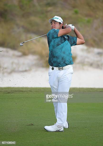 Hideki Matsuyama of Japan plays a shot on the 15th hole during the third round of the Hero World Challenge at Albany course on December 3 2016 in...