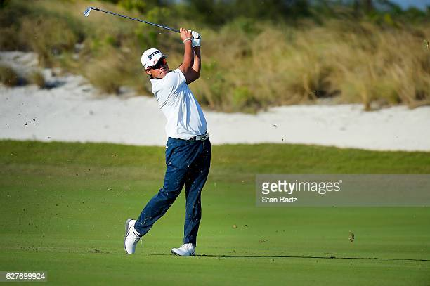 Hideki Matsuyama of Japan plays a shot on the 16th fairway during the final round of the Hero World Challenge at Albany course on December 4 2016 in...