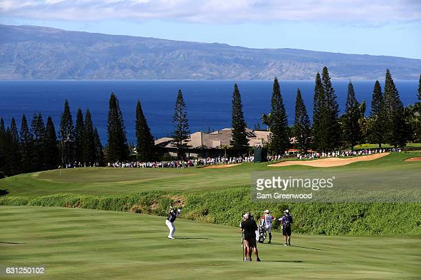 Hideki Matsuyama of Japan plays a shot on the 17th hole during the final round of the SBS Tournament of Champions at the Plantation Course at Kapalua...