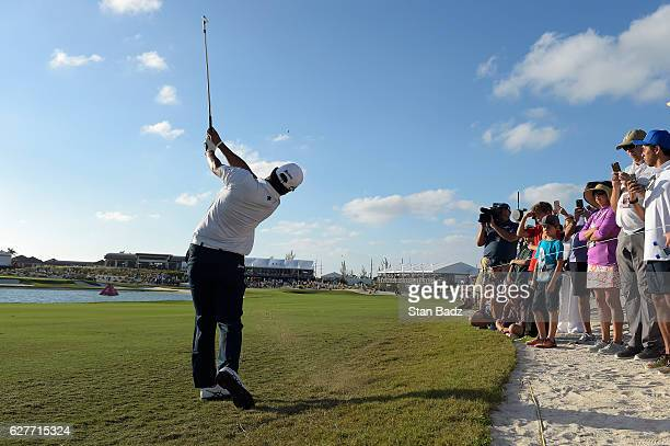 Hideki Matsuyama of Japan plays a shot on the 18th hole during the final round of the Hero World Challenge at Albany course on December 4 2016 in...