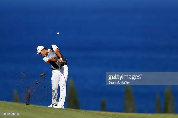 Hideki Matsuyama of Japan plays a shot on the fourth hole during the final round of the SBS Tournament of Champions at the Plantation Course at...