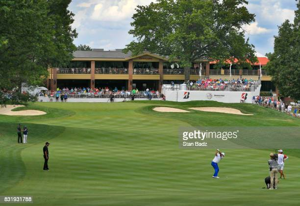 Hideki Matsuyama of Japan plays a shot on the ninth fairway during the final round of the World Golf ChampionshipsBridgestone Invitational at...