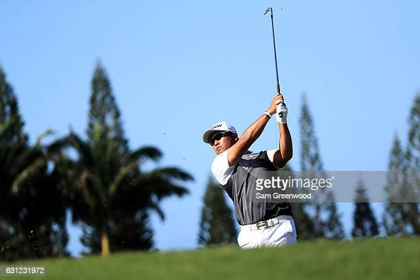 Hideki Matsuyama of Japan plays a shot on the third hole during the final round of the SBS Tournament of Champions at the Plantation Course at...