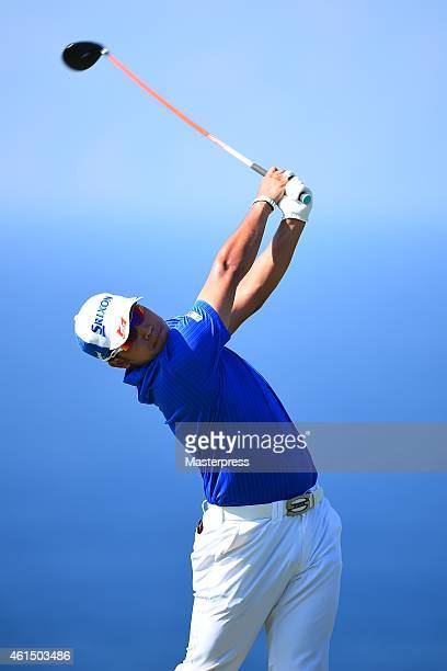 Hideki Matsuyama of Japan plays a tee shot on the 13th hole during the final round of the Hyundai Tournament of Champions at Plantation Course at...