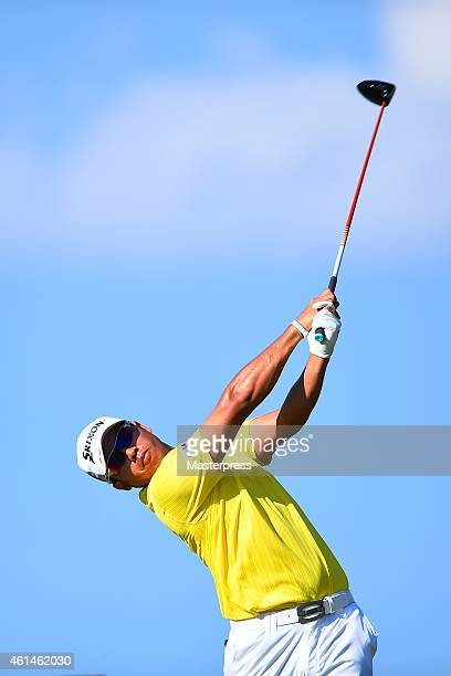 Hideki Matsuyama of Japan plays a tee shot on the 16th hole during the round three of the Hyundai Tournament of Champions at Plantation Course at...