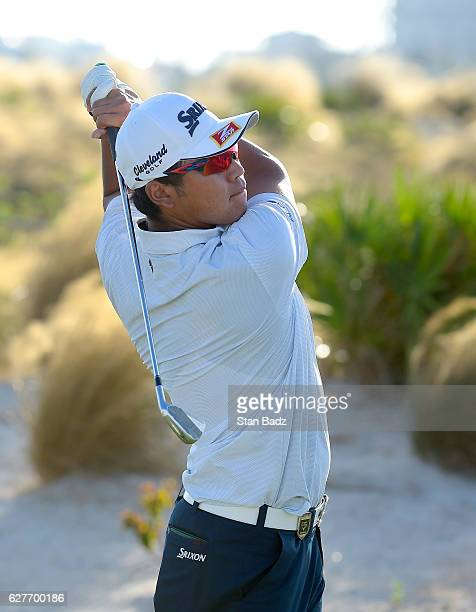 Hideki Matsuyama of Japan plays a tee shot on the 17th hole during the final round of the Hero World Challenge at Albany course on December 4 2016 in...