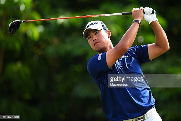 Hideki Matsuyama of Japan plays a tee shot on the fifth hole during the second round of the Sony Open In Hawaii at Waialae Country Club on January 16...