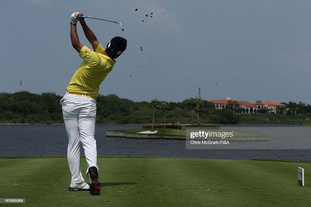 Hideki Matsuyama of Japan plays from the 17th tee during round two of The Open Championship International Final Qualifying Asia at Amata Springs Country Club on March 01, 2013 in Bangkok, Thailand.