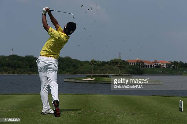 Hideki Matsuyama of Japan plays from the 17th tee during round two of The Open Championship International Final Qualifying Asia at Amata Springs...