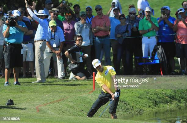 Hideki Matsuyama of Japan plays his ball near the water hazard on the 11th hole during the second round at the Arnold Palmer Invitational Presented...