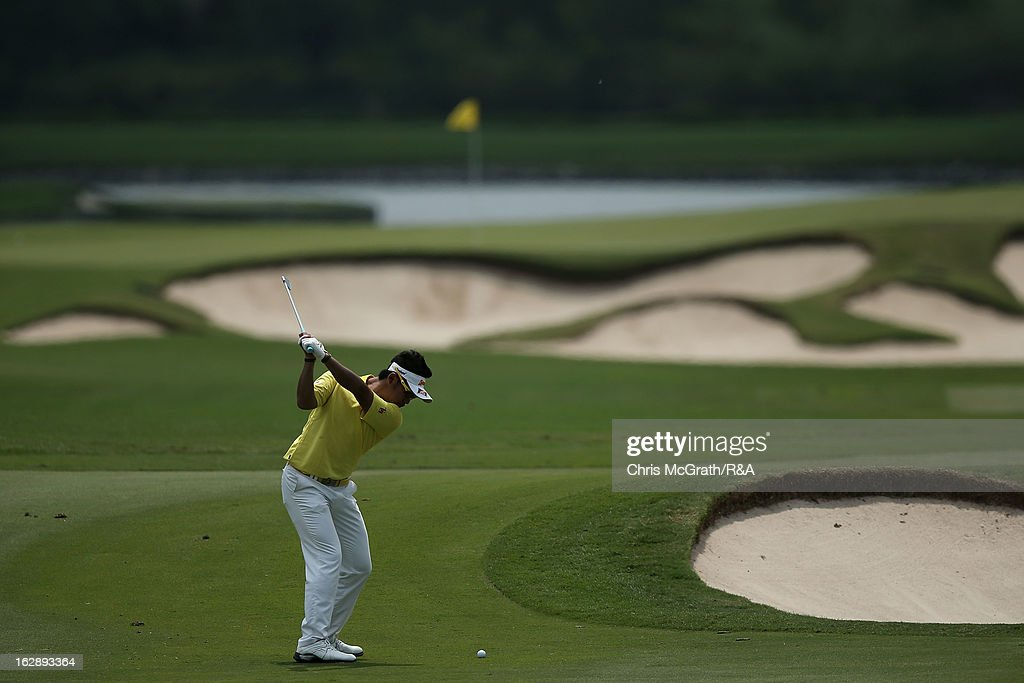 Hideki Matsuyama of Japan plays his second shot on the 11th hole during round two of The Open Championship International Final Qualifying Asia at Amata Springs Country Club on March 01, 2013 in Bangkok, Thailand.