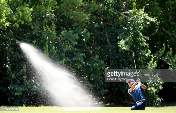 Hideki Matsuyama of Japan plays his second shot on the eighth hole during the first round of the Zurich Classic at TPC Louisiana on April 27, 2017 in...