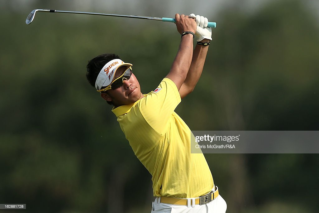 Hideki Matsuyama of Japan plays his second shot on the first hole during round two of The Open Championship International Final Qualifying Asia at Amata Springs Country Club on March 01, 2013 in Bangkok, Thailand.
