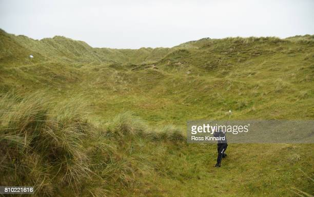 Hideki Matsuyama of Japan plays his second shot on the par five 4th hole during the second round of the Dubai Duty Free Irish Open at Portstewart...