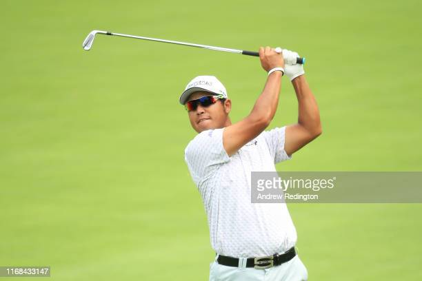 Hideki Matsuyama of Japan plays his second shot on the third hole during the second round of the BMW Championship at Medinah Country Club No 3 on...
