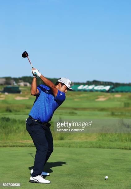 Hideki Matsuyama of Japan plays his shot during a practice round prior to the 2017 US Open at Erin Hills on June 13 2017 in Hartford Wisconsin