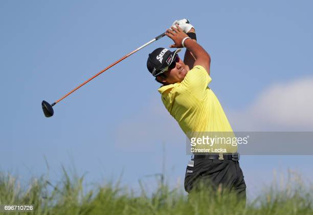 Hideki Matsuyama of Japan plays his shot from the 11th tee during the second round of the 2017 US Open at Erin Hills on June 16 2017 in Hartford...