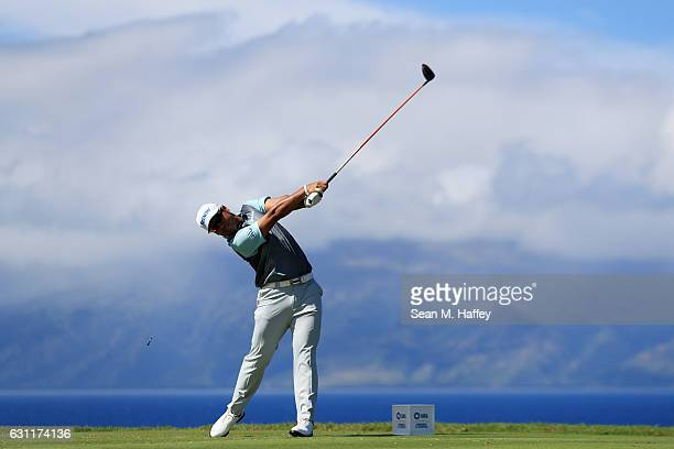 Hideki Matsuyama of Japan plays his shot from the 13th tee during the third round of the SBS Tournament of Champions at the Plantation Course at...