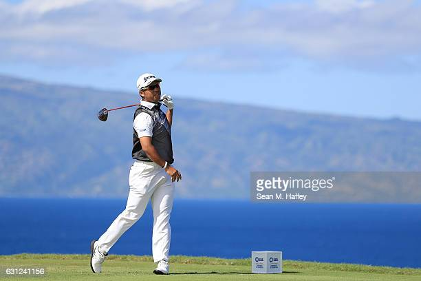 Hideki Matsuyama of Japan plays his shot from the 13th tee during the final round of the SBS Tournament of Champions at the Plantation Course at...