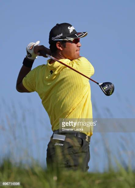 Hideki Matsuyama of Japan plays his shot from the 14th tee during the second round of the 2017 US Open at Erin Hills on June 16 2017 in Hartford...
