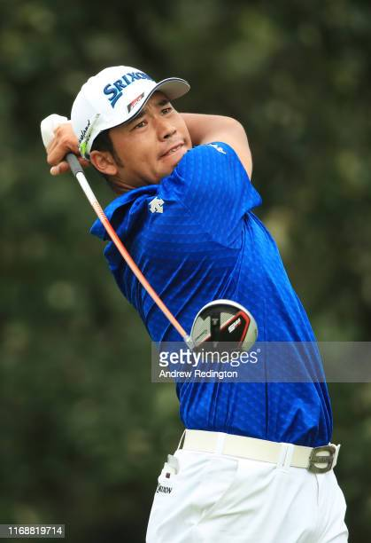 Hideki Matsuyama of Japan plays his shot from the 15th tee during the final round of the BMW Championship at Medinah Country Club No 3 on August 18...