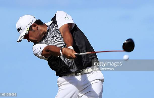 Hideki Matsuyama of Japan plays his shot from the 16th tee during the final round of the SBS Tournament of Champions at the Plantation Course at...
