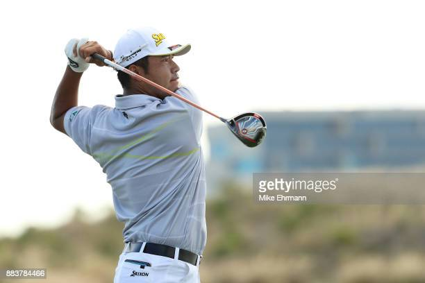 Hideki Matsuyama of Japan plays his shot from the 18th tee during the second round of the Hero World Challenge at Albany Bahamas on December 1 2017...