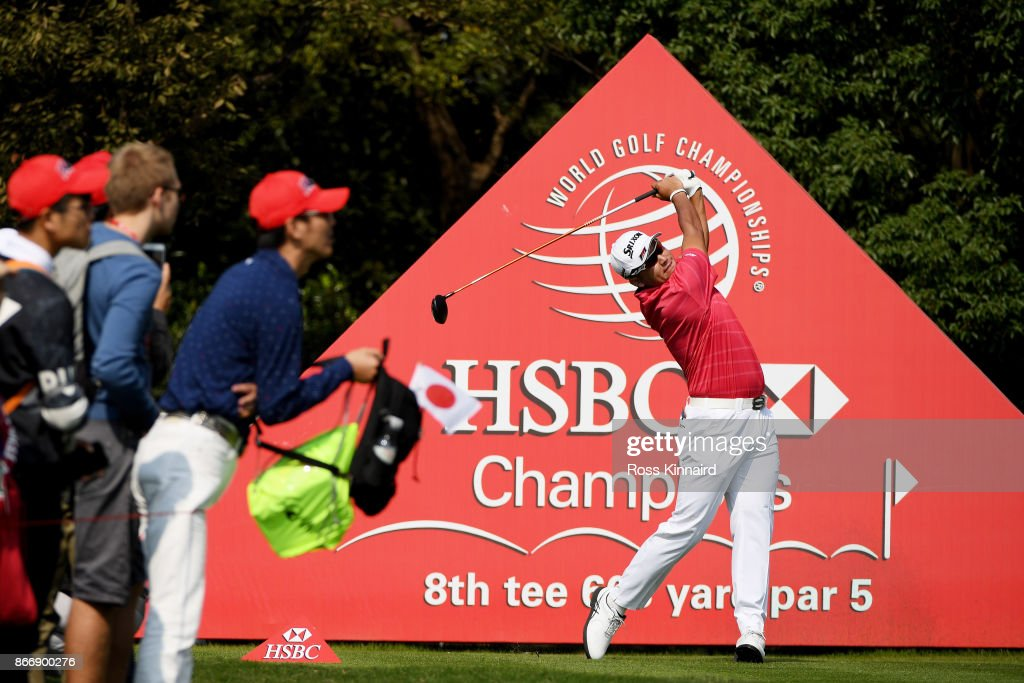Hideki Matsuyama of Japan plays his shot from the eighth tee during the second round of the WGC - HSBC Champions at Sheshan International Golf Club on October 27, 2017 in Shanghai, China.