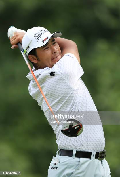 Hideki Matsuyama of Japan plays his shot from the fifth tee during the second round of the BMW Championship at Medinah Country Club No 3 on August 16...