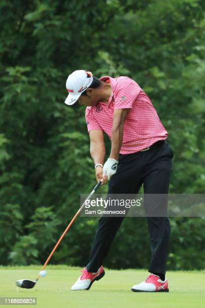 Hideki Matsuyama of Japan plays his shot from the fifth tee during the third round of the BMW Championship at Medinah Country Club No 3 on August 17...