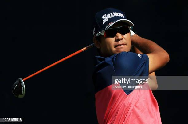 Hideki Matsuyama of Japan plays his shot from the first tee during the third round of The Northern Trust on August 25 2018 at the Ridgewood...