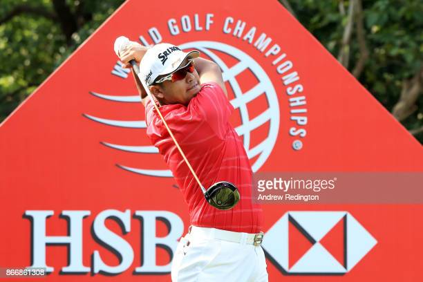 Hideki Matsuyama of Japan plays his shot from the first tee during the second round of the WGC HSBC Champions at Sheshan International Golf Club on...