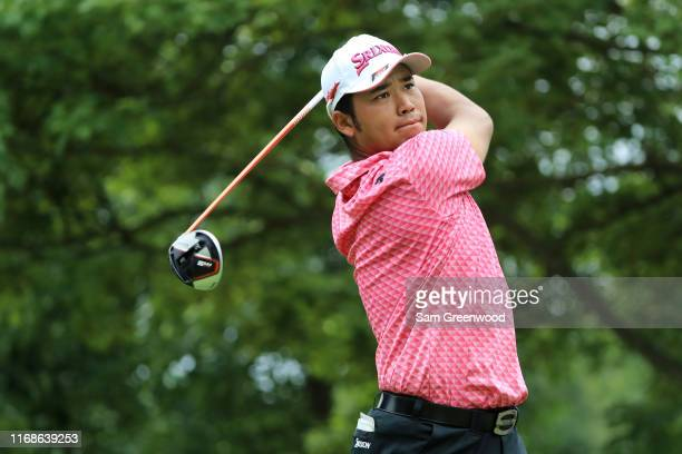Hideki Matsuyama of Japan plays his shot from the fourth tee during the third round of the BMW Championship at Medinah Country Club No 3 on August 17...