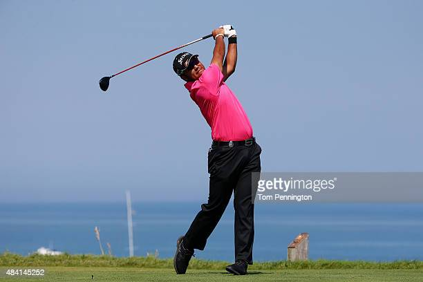 Hideki Matsuyama of Japan plays his shot from the fourth tee during the third round of the 2015 PGA Championship at Whistling Straits on August 15...