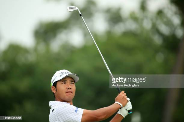 Hideki Matsuyama of Japan plays his shot from the second tee during the second round of the BMW Championship at Medinah Country Club No 3 on August...