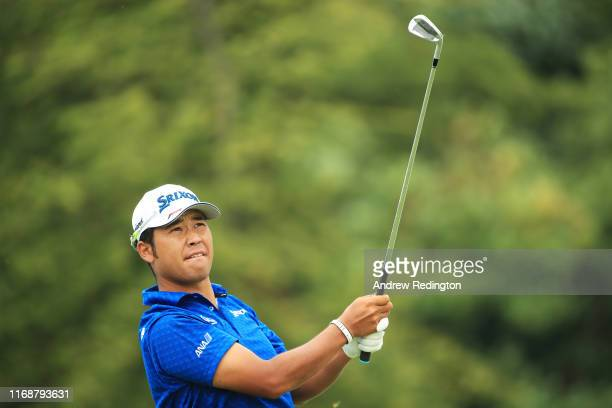 Hideki Matsuyama of Japan plays his shot from the second tee during the final round of the BMW Championship at Medinah Country Club No 3 on August 18...