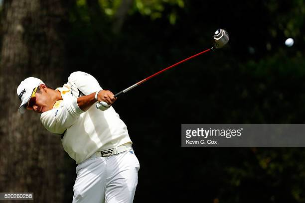 Hideki Matsuyama of Japan plays his shot from the second tee during the final round of the 2016 Masters Tournament at Augusta National Golf Club on...