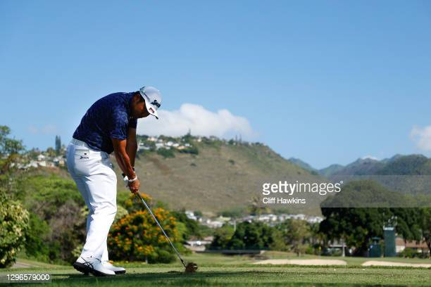 Hideki Matsuyama of Japan plays his shot from the seventh tee during the second round of the Sony Open in Hawaii at the Waialae Country Club on...