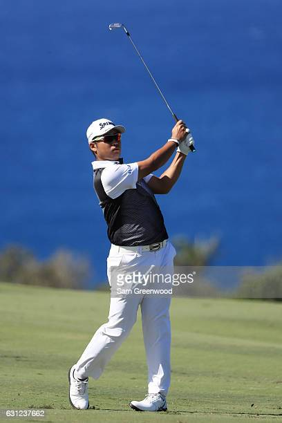 Hideki Matsuyama of Japan plays his shot from the tenth tee during the final round of the SBS Tournament of Champions at the Plantation Course at...
