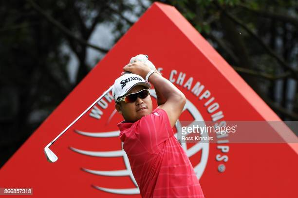 Hideki Matsuyama of Japan plays his shot from the third tee during the second round of the WGC - HSBC Champions at Sheshan International Golf Club on...