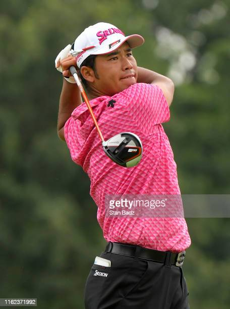 Hideki Matsuyama of Japan plays his tee shot on the 12th hole during the third round of the BMW Championship at Medinah Country Club on August 17...
