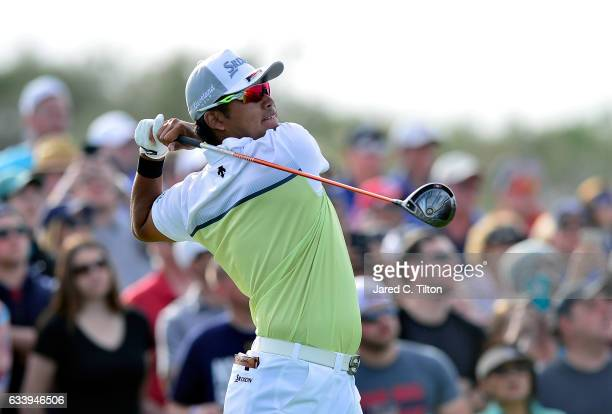 Hideki Matsuyama of Japan plays his tee shot on the 18th hole during the final round of the Waste Management Phoenix Open at TPC Scottsdale on...