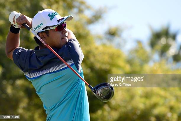 Hideki Matsuyama of Japan plays his tee shot on the fifth hole during the third round of the Waste Management Phoenix Open at TPC Scottsdale on...