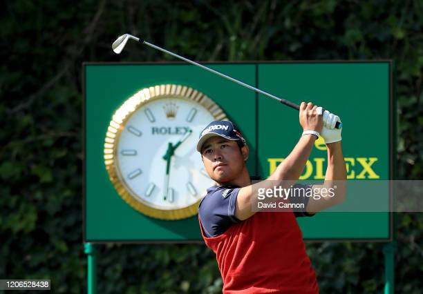 Hideki Matsuyama of Japan plays his tee shot on the par 3 sixth hole during the third round of the Genesis Invitational at The Riviera Country Club...