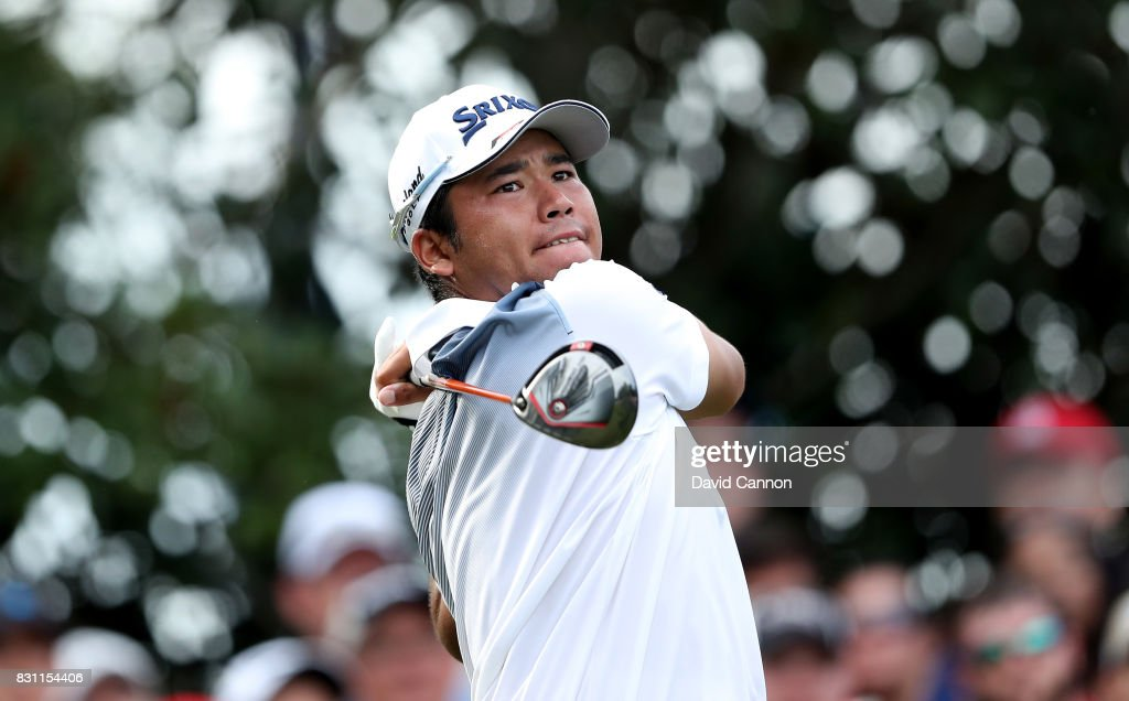 Hideki Matsuyama of Japan plays his tee shot on the par 4, 16th hole during the final round of the 2017 PGA Championship at Quail Hollow on August 13, 2017 in Charlotte, North Carolina.