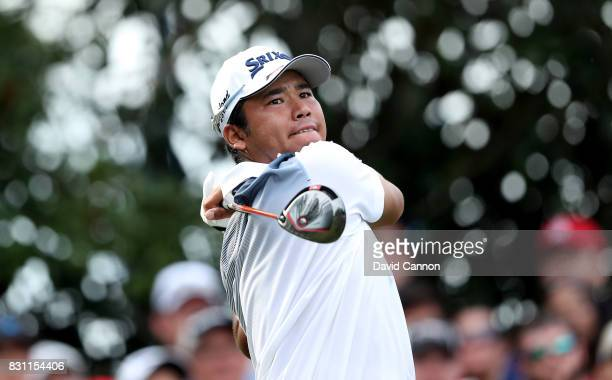 Hideki Matsuyama of Japan plays his tee shot on the par 4 16th hole during the final round of the 2017 PGA Championship at Quail Hollow on August 13...