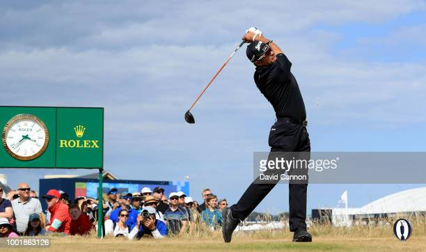 Hideki Matsuyama of Japan plays his tee shot on the second hole during the first round of the 147th Open Championship at Carnoustie Golf Club on July...