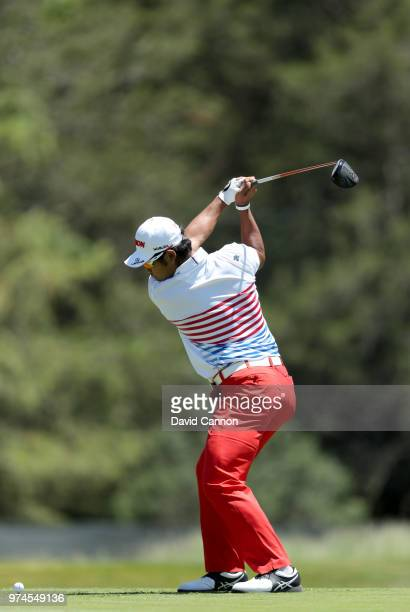 Hideki Matsuyama of Japan plays his tee shot on the sixth hole during the first round of the 2018 US Open at Shinnecock Hills Golf Club on June 14...