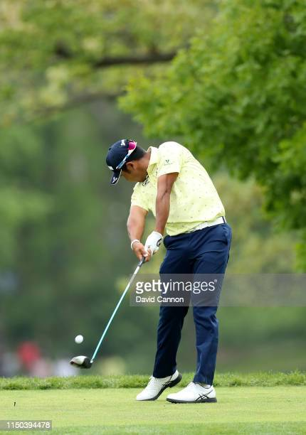 Hideki Matsuyama of Japan plays his tee shot with a driver on the fifth hole during the final round of the 2019 PGA Championship on the Black Course...