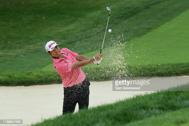 Hideki Matsuyama of Japan plays his third shot on the fifth hole during the third round of the BMW Championship at Medinah Country Club No 3 on...